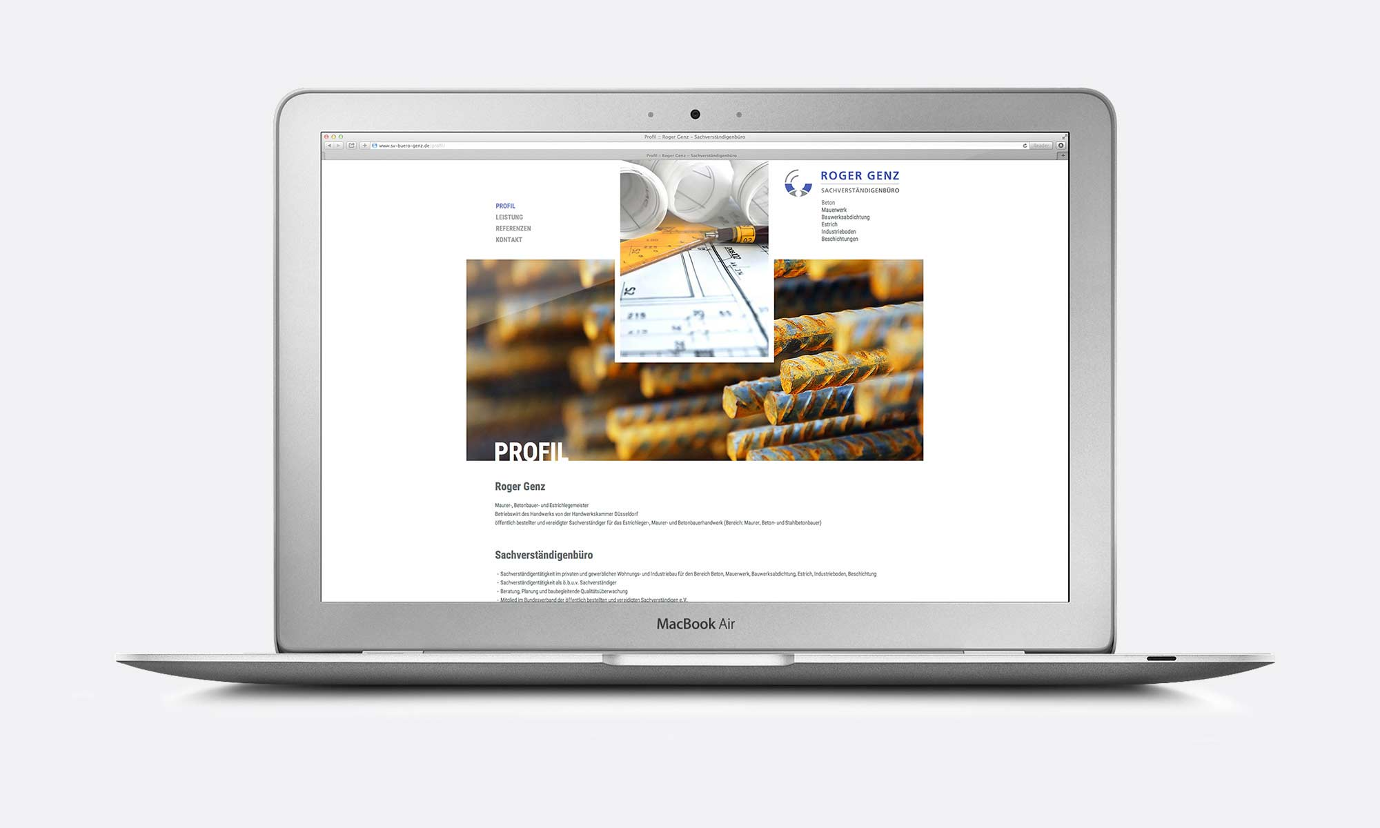 Design und Konzeption Responsive Website Baubranche